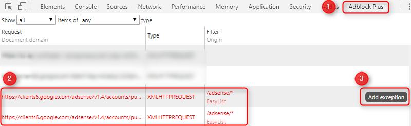 ChromeのDeveloper ToolsのAdblock Plusタブ