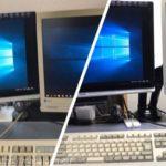 モニターアームで机が広く使えるように!