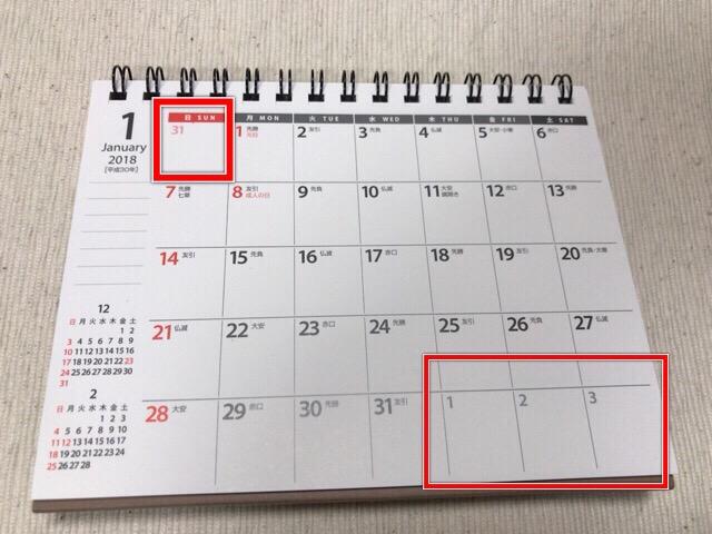 前後の月の日付がポイント