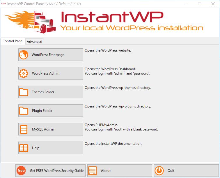 InstantWPのコントロールパネル
